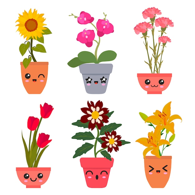 Kawaii Kwiaty Premium Wektorów