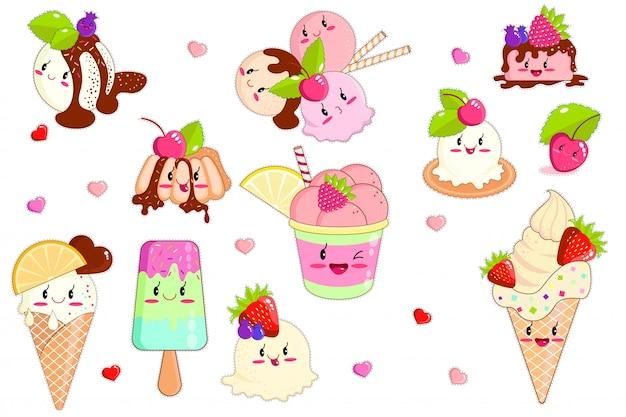 Kawaii lody w rożkach waflowych i słodkie owoce Premium Wektorów