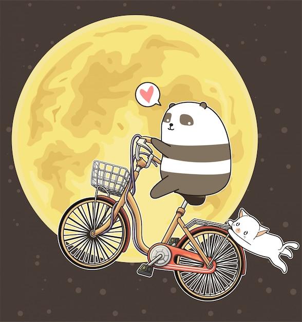 Kawaii Panda Jedzie Na Rowerze Na Tle Księżyca Premium Wektorów