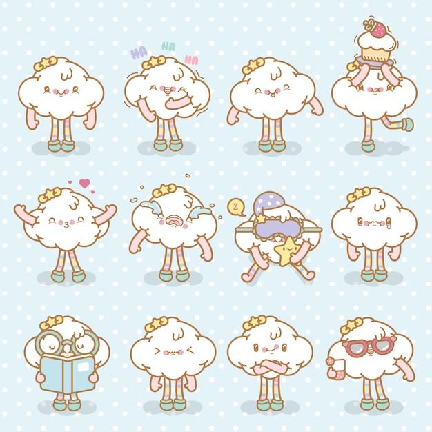 Kawaii wektor emoji chmura zestaw Premium Wektorów