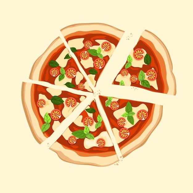Kawałek Pizzy Margherita Z Pomidorem, Bazylią I Serem Mozzarella Na Wierzchu. Premium Wektorów