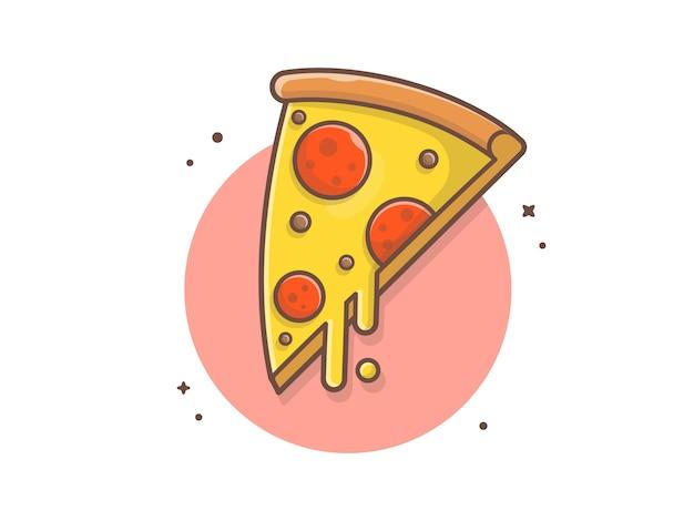 Kawałek pizzy topiony ser i mięso wektor clipart ilustracji Premium Wektorów