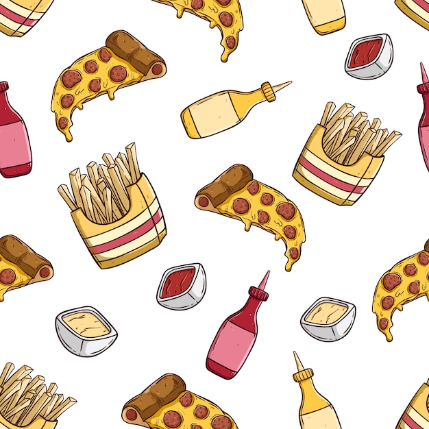 Kawałek Pizzy Z Frytkami W Szwu Z Stylu Kolorowe Ręcznie Rysowane Premium Wektorów