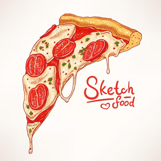 Kawałek Ręcznie Rysowanej Apetycznej Pizzy Z Margheritą Premium Wektorów