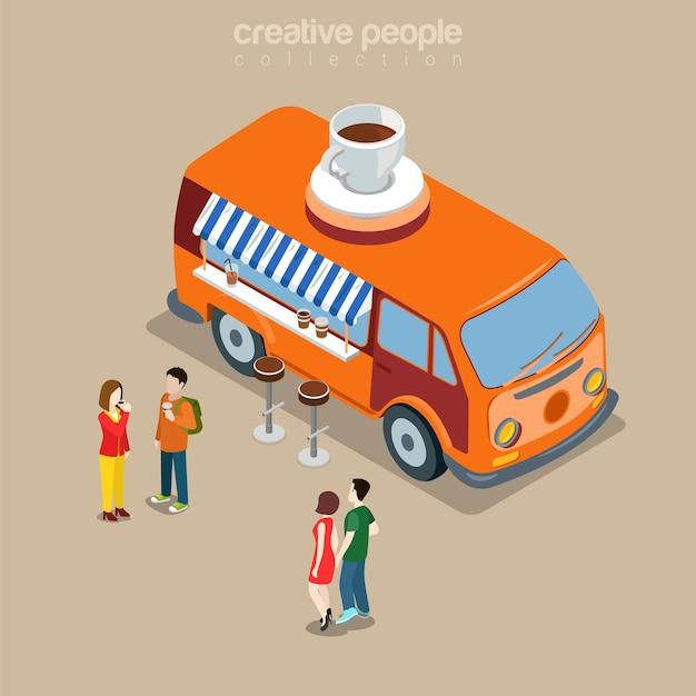 Kawiarnia Kawiarnia Fast Food Uliczna Restauracja Bistro W Szczęśliwym Hippie Van Płaski Izometryczny Premium Wektorów