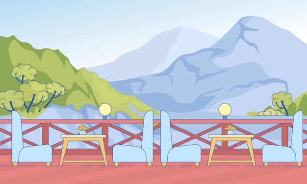 Kawiarnia Otwarty Taras Ze Stołowymi Krzesłami W Górach Premium Wektorów