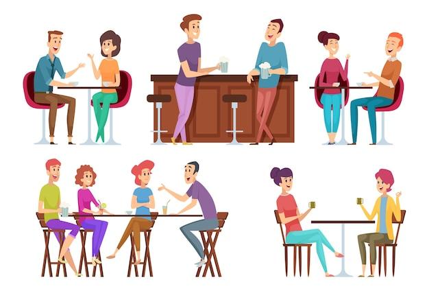 Kawiarnia Spotkań Przyjaciół. Kolacja W Restauracji Grupa Szczęśliwych Ludzi, Jedzenie I żarty, Rozmowa I Uśmiechnięty Wektor Przyjaciół Premium Wektorów