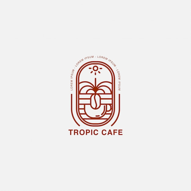 Kawiarnia z kubkiem i logo tropikalnej krainy Premium Wektorów