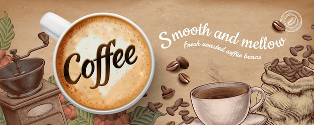 Kawowe Banery Reklamowe Z Dekoracjami W Stylu Illustratin Latte I Drzeworyt Na Tle Papieru Kraft Premium Wektorów
