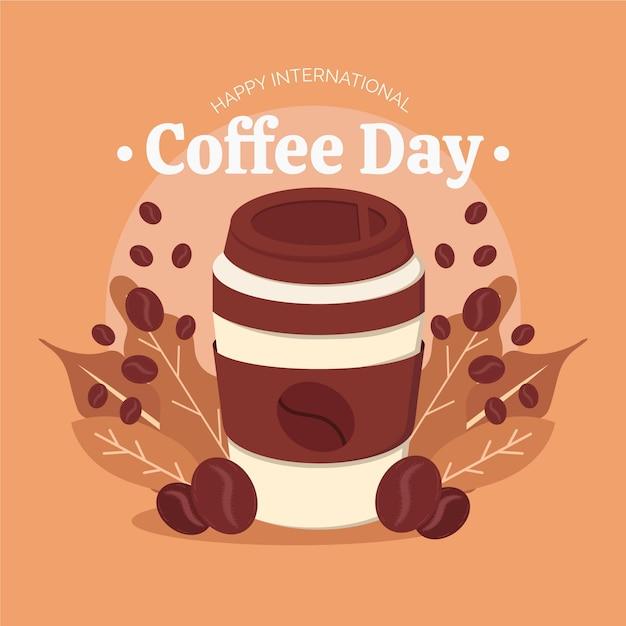 Kawowy Dzień Z Kawą W Filiżance Na Wynos Darmowych Wektorów