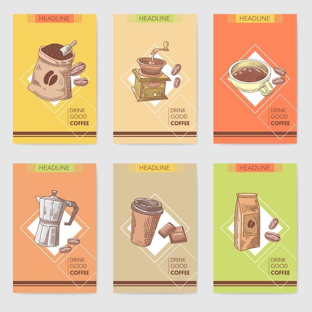 Kawy Ręcznie Rysowane Karty Broszura Menu Z Ziaren Kawy Premium Wektorów