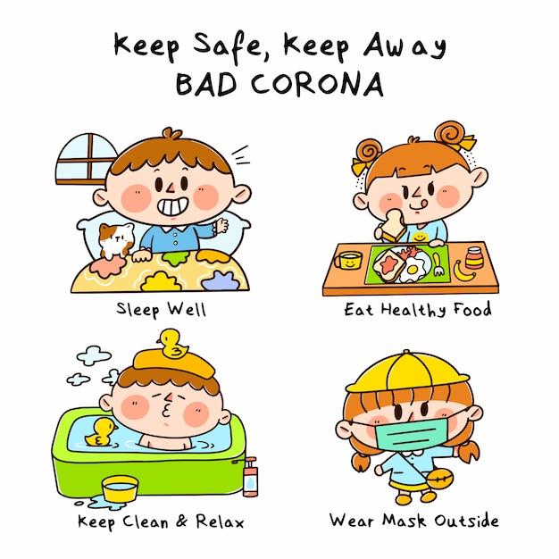 Keep Away Keep Safe From Bad Corona Campaign Doodle Ilustracja Premium Wektorów
