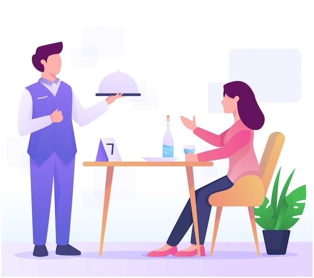 Kelner i spożywane ilustracja w restauracji Premium Wektorów