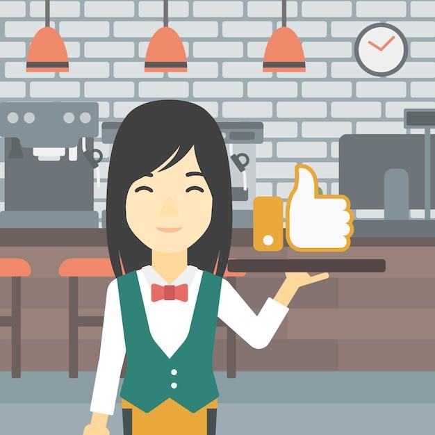 Kelnerka z podobną guzikiem wektorowa ilustracja. Premium Wektorów