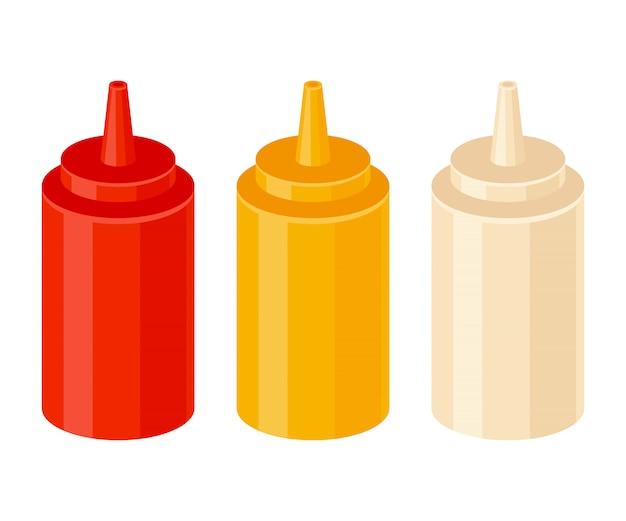 Ketchupowe musztardy i majonezowe butelki Premium Wektorów