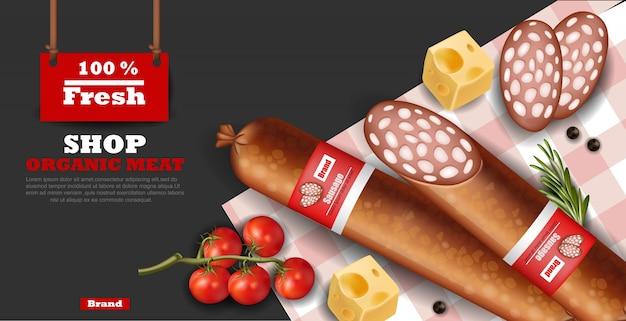 Kiełbasa Salami Makiety Premium Wektorów