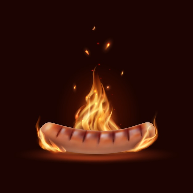 Kiełbasa W Ogniu, Grill Grilla Spalanie Kiełbasy Wektor Z Płomieniem I Iskrami Premium Wektorów