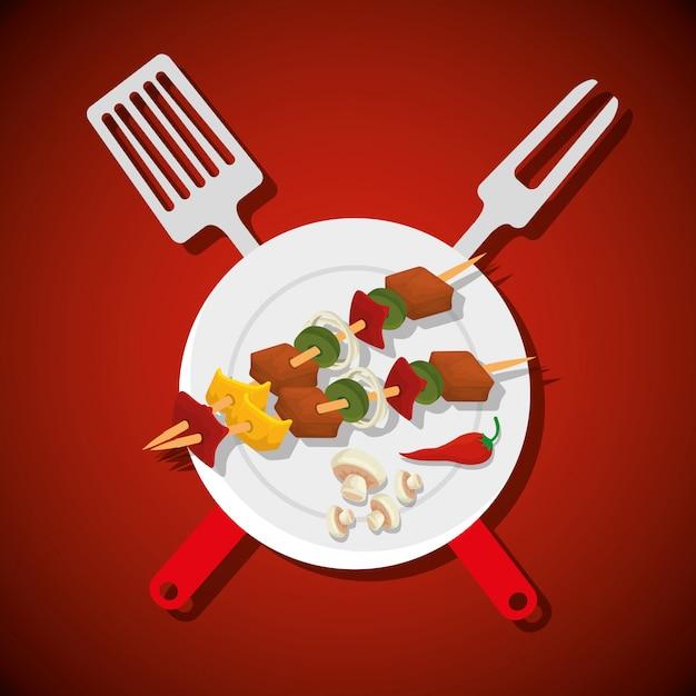 Kiełbasy z mięsem i grzybami z narzędziami do grillowania Darmowych Wektorów