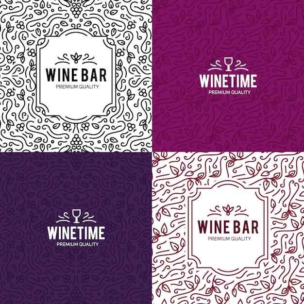 Kieliszek do wina i winogron rocznika tło napis Darmowych Wektorów