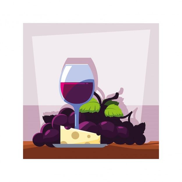 Kieliszek Do Wina Z Winogronami I Porcją Sera Premium Wektorów
