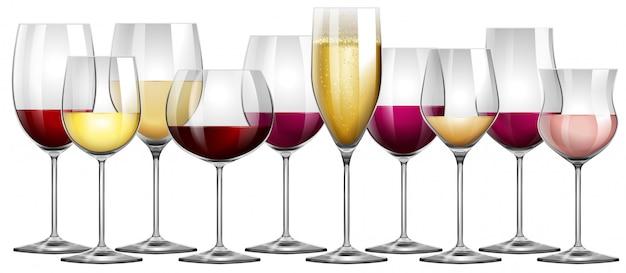 Kieliszki do wina wypełnione czerwonym i białym winem Premium Wektorów