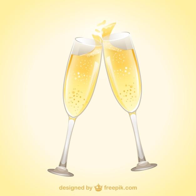Kieliszki szampana Darmowych Wektorów