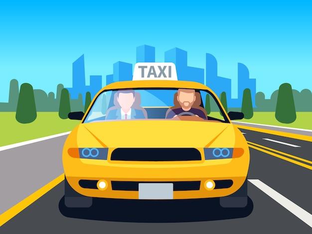 Kierowca Taksówki Samochodowej. Klient Auto Taksówka Wewnątrz Pasażera Człowiek Zawód Nawigacji Bezpieczeństwa Komfort Komercyjnych Taksówek Kreskówka Premium Wektorów