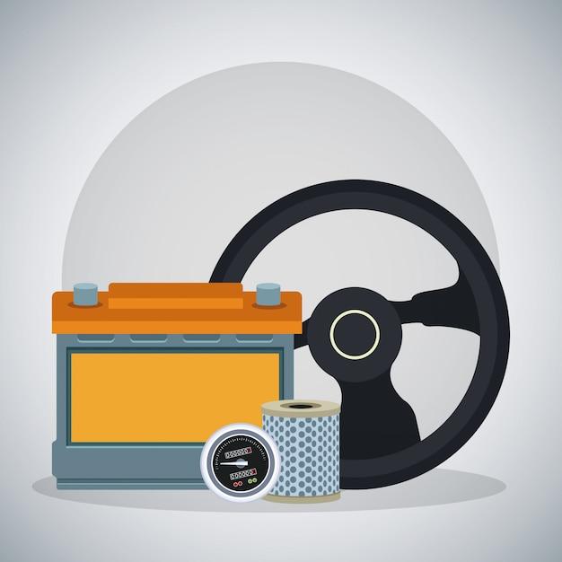 Kierownica Z Akumulatorem Samochodowym I Filtrem Powietrza Premium Wektorów