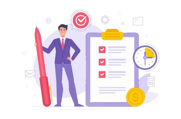 Kierownik Uzupełnia Zadania W Czasu Wektoru Ilustraci Premium Wektorów