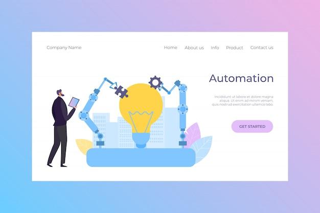 Kierownika Automatyzaci Automatyzaci Robota Desantowa Ilustracja. Inteligentny Sprzęt Inżynierski, Automatyczna Technologia Kreskówkowa. Premium Wektorów