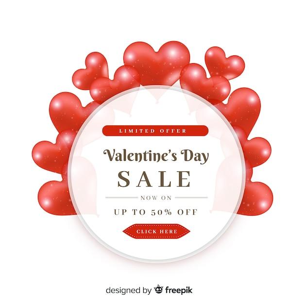 Kierowy okrąg valentine sprzedaży tło Darmowych Wektorów