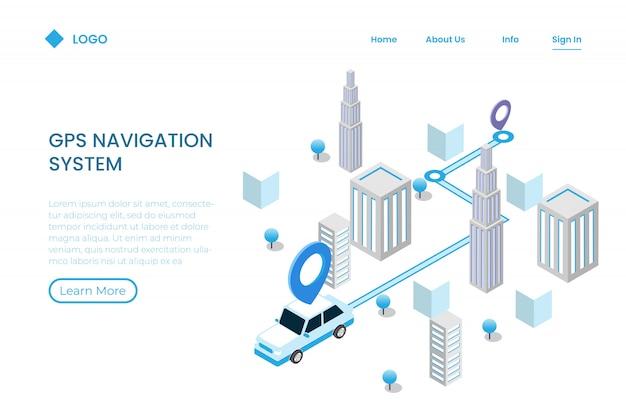 Kierunek aplikacji mobilnej do śledzenia w stylu izometrycznym, nawigacja Premium Wektorów