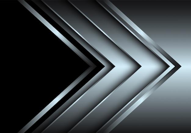 Kierunek warstwy srebrnej strzałki z czarnym tłem pustej przestrzeni. Premium Wektorów