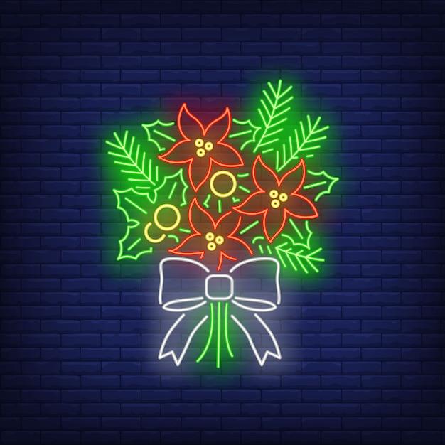Kilka Gałązek Jodły, Znak Poinsettia Kwiaty Neon Darmowych Wektorów