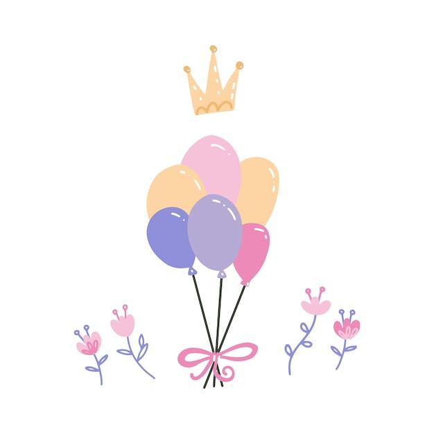 Kilka Kolorowych Balonów Z Koroną I Kwiatami. Akcesoria Do Strony. Urodziny, Dekoracja Z Okazji Rocznicy. Premium Wektorów