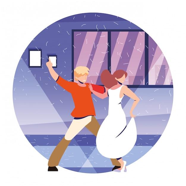Kilka Osób Tańczy W Domu, Imprezie, Muzyce I życiu Nocnym Premium Wektorów