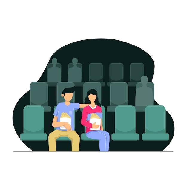 Kilka Postaci Ogląda Filmy W Kinie Premium Wektorów
