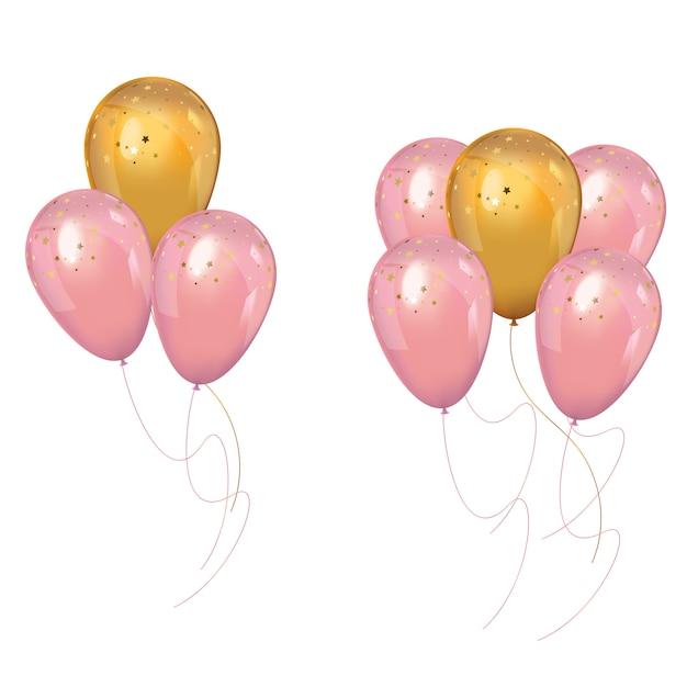 Kilka Realistycznych Balonów Różowo-złotych Premium Wektorów