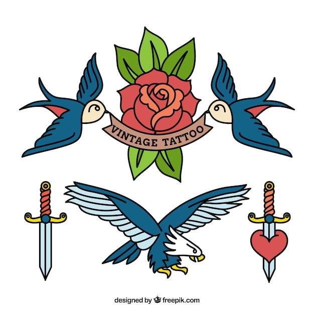 Kilka tatuaże ptaków Darmowych Wektorów