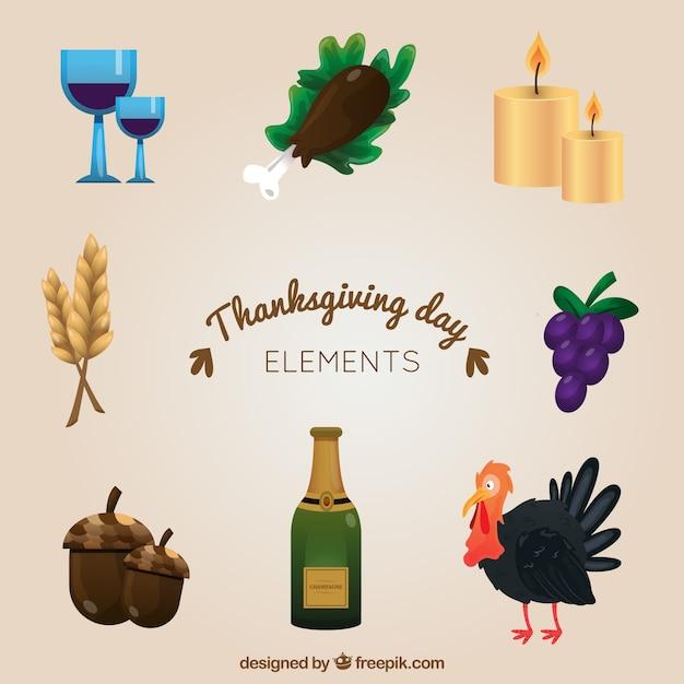 Kilka Tradycyjne Elementy Dziękczynienia Premium Wektorów