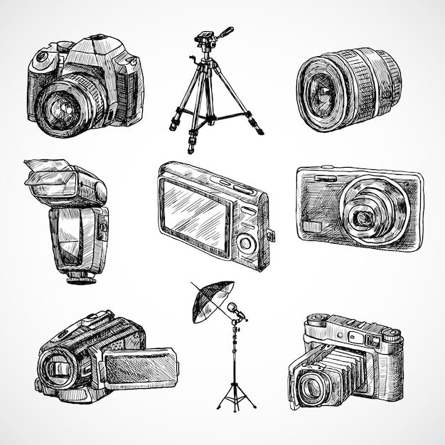Kilka z ręcznie rysowane kamer Darmowych Wektorów