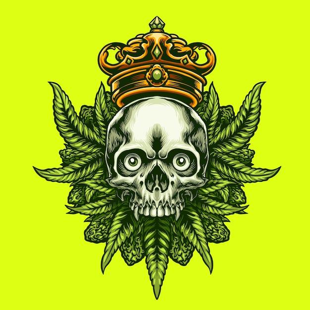 King Cannabis Czaszka Premium Wektorów