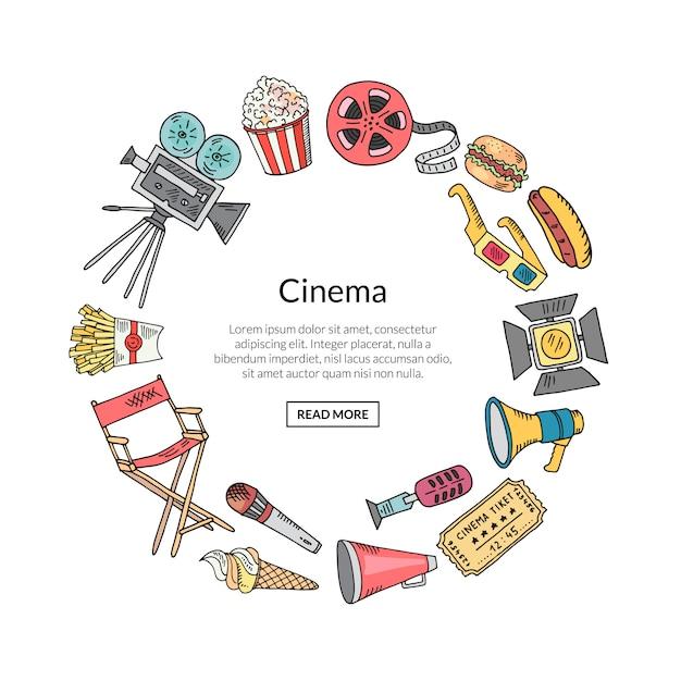 Kino doodle dekoracji w kształcie koła Premium Wektorów