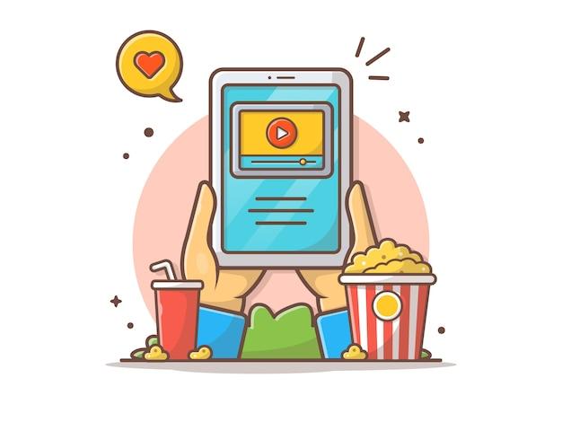 Kino online ikona wektor ilustracja Premium Wektorów