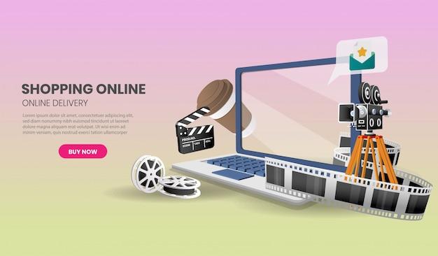 Kino Online Na Dostawie Laptopów Na Stronie Internetowej Lub Aplikacji Mobilnej Marketing Marketingowy I Marketing Cyfrowy. Premium Wektorów