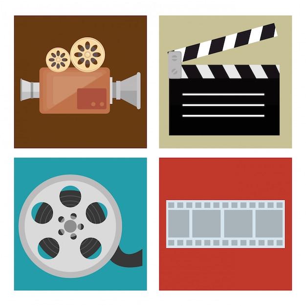 Kino rozrywka ustawić ikony Darmowych Wektorów