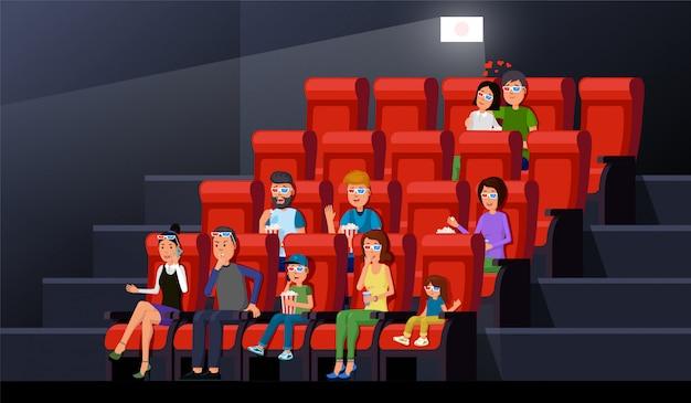 Kinomani siedzi w rzędzie z popcornem i ciesząc się filmem w pałacu. wnętrze teatru Premium Wektorów