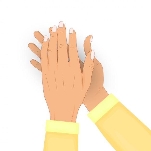 Klaskać Istot Ludzkich Ręki Odizolowywać Na Białym Tle. Oklaski, Brawo. Gratulacje, Uznanie, Koncepcja Uznania. Ilustracja. W Koszuli. Premium Wektorów