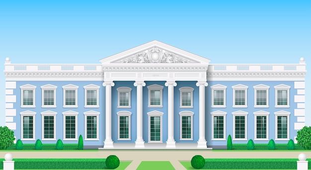 Klasyczna Fasada Budynku Uzytecznosci Publicznej Wektor Premium
