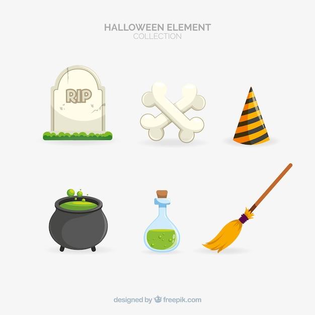 Klasyczna kolekcja elementów halloween z płaska konstrukcja Darmowych Wektorów